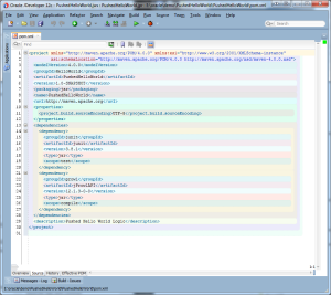 JDeveloper 12C - view of a simple POM