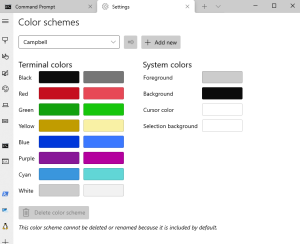 Configuration options for colour etc within the tool